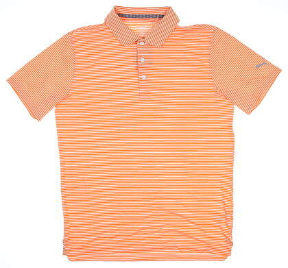 New Mens Puma Caddie Stripe Polo Medium M Vibrant Orange MSRP $70 595115 06