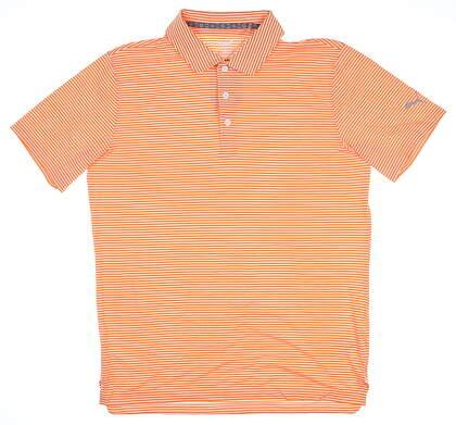 New Mens Puma Caddie Stripe Polo Medium M Vibrant Orange MSRP $70 595115 06