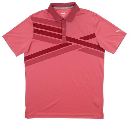 New Mens Puma Alterknit Textured Polo Medium M Rapture Rose MSRP $75 595779 05