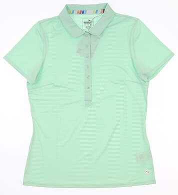 New Womens Puma Sheer Stripe Polo Small S Mist Green MSRP $60 595826 08