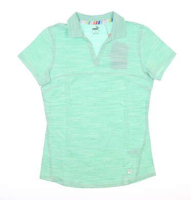 New Womens Puma Heather Slub Polo Small S Green Glimmer MSRP $60 595824 04