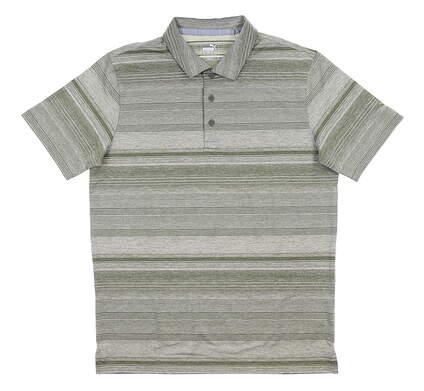 New Mens Puma Variegated Stripe Polo Medium M Deep Lichen Green MSRP $70 595792 02