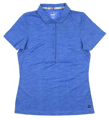 New Womens Puma Sheer Stripe Polo Small S Palace Blue MSRP $60 595826 09