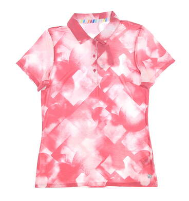 New Womens Puma Soft Geo Polo Small S Rapture Rose MSRP $60 595838 01