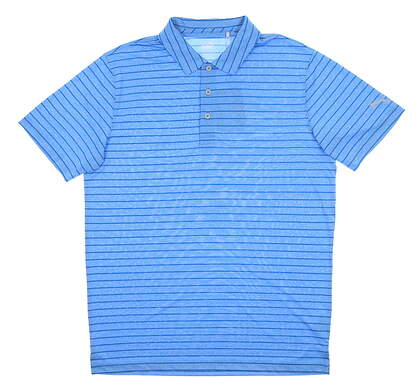 New Mens Puma Rotation Stripe Polo Medium M Ibiza Blue MSRP $70 577974 25