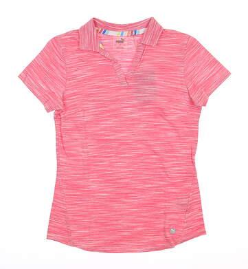 New Womens Puma Heather Slub Polo Small S Rapture Rose MSRP $60 595824 01