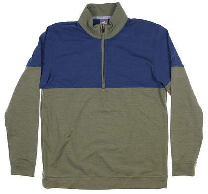 New Mens Puma Warm Up 1/4 Zip Pullover Medium M Deep Lichen/ Dark Denim MSRP $75 595803 05