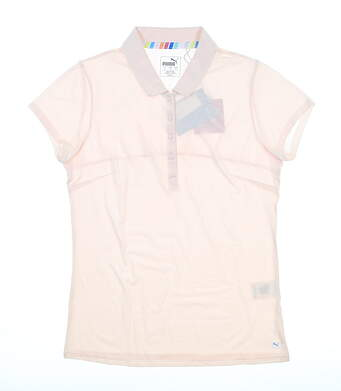 New Womens Puma Fusion Mesh Polo Small S Rosewater MSRP $60 595825 02