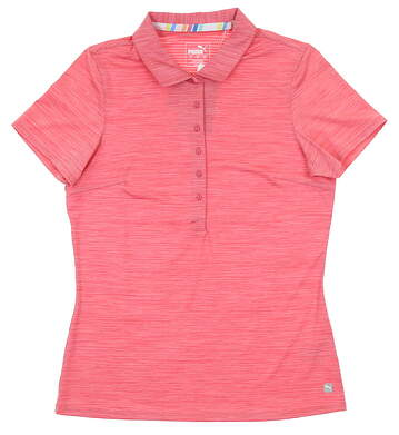 New Womens Puma Sheer Stripe Polo Small S Rapture Rose MSRP $60 595826 06