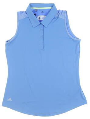 New W/ Logo Womens Adidas Ultimate Sleeveless Polo Medium M Blue EB4605 MSRP $55
