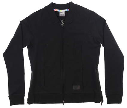 New Womens Puma Full Bomber Jacket Small S Puma Black MSRP $70 595845 01