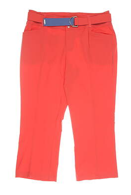 New Womens Jo Fit Belted Flare Capris 12 Coral MSRP $120 GB159