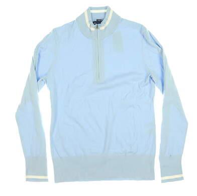 New W/ Logo Womens Cutter & Buck 1/4 Zip Sweater Medium M Blue MSRP $100 LCS00005