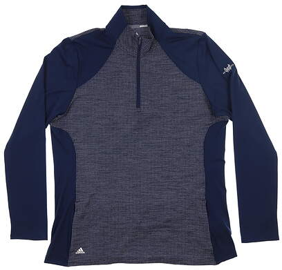 New W/ Logo Womens Adidas 1/4 Zip Pullover X-Large XL Navy Blue MSRP $80