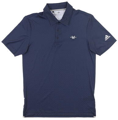 New W/ Logo Mens Adidas Ultimate Dot Polo Small S Navy Blue MSRP $75 FI4987