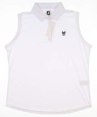 New W/ Logo Womens Footjoy Sleeveless Golf Polo X-Large XL White MSRP $90