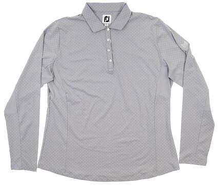 New W/ Logo Womens Footjoy Dot Print Long Sleeve Polo X-Large XL Gray MSRP $90 27549