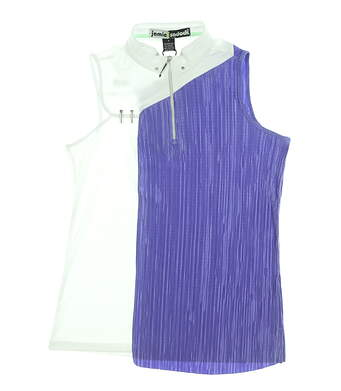 New Womens Jamie Sadock Sleeveless Polo Small S White/ Purple MSRP $89 91201