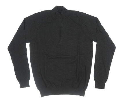 New Mens Greg Norman 1/4 Zip Sweater Small S Black MSRP $89 G7F7S122