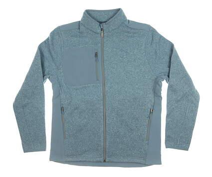 New Mens Greg Norman Full Zip Mock Neck Small S Blue MSRP $99 G7F7J611