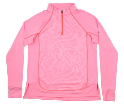 New Womens Under Armour Golf Full Zip Mock Neck Medium M Pink MSRP $75 UW1299