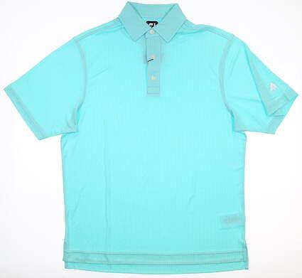 New W/ Logo Mens Footjoy Diamond Jacquard Polo Medium M Aqua MSRP $72