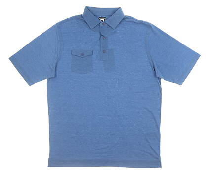 New Mens Footjoy Spun Poly Golf Polo Large L Blue MSRP $75 22844