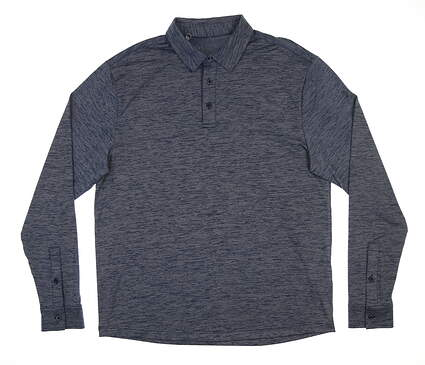New Mens Under Armour Long Sleeve Golf Polo Large L Navy Blue MSRP $85