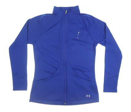 New W/ Logo Womens Under Armour Full Zip Mock Neck Medium M Blue MSRP $95