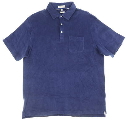 New Mens Peter Millar Polo Large L Blue MSRP $95