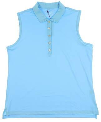 New Womens Peter Millar Golf Sleeveless Polo X-Large XL Blue MSRP $75 LS16EK02