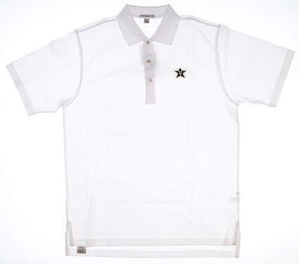 New W/ Logo Mens Peter Millar Golf Polo Small S White MSRP $89 MC0K01