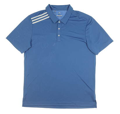New Mens Adidas Essential 3 Stripe Polo Large L Blue MSRP $70 CD3307