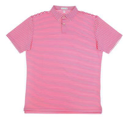 New Mens Peter Millar Donald Stripe Polo Large L Pink MSRP $85 MS18EK201STO