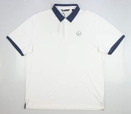 New W/ Logo Mens Travis Mathew Work Hard Golf Polo XX-Large XXL White MSRP $80