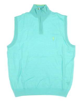 New W/ Logo Mens Ralph Lauren 1/4 Zip Sweater Vest Large L Green MSRP $145