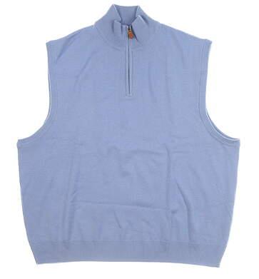 New Mens Ralph Lauren 1/4 Zip Sweater Vest XX-Large XXL Blue MSRP $145