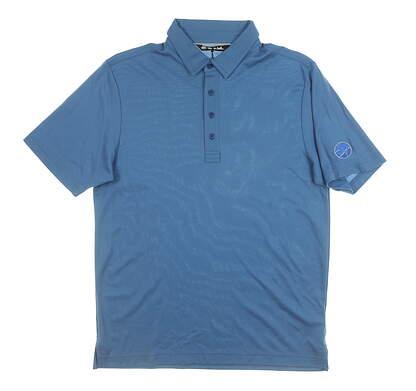 New W/ Logo Mens Travis Mathew Golf Polo Medium M Blue MSRP $70