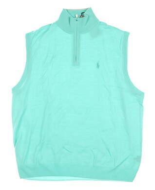 New W/ Logo Mens Ralph Lauren 1/4 Zip Sweater Vest X-Large XL Green MSRP $160