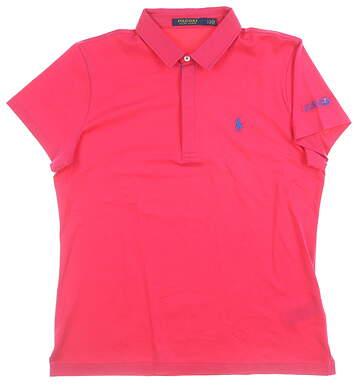 New W/ Logo Womens Ralph Lauren Golf Polo Large L Pink MSRP $90