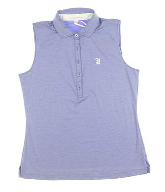 New W/ Logo Womens Fairway & Greene Sleeveless Polo Medium M Blue MSRP $100 E32230