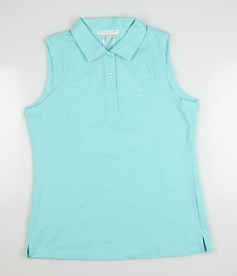 New W/ Logo Womens Fairway & Greene Sleeveless Polo Medium M Green MSRP $100 J32225