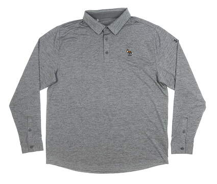 New W/ Logo Mens Under Armour Long Sleeve Golf Polo X-Large XL Gray MSRP $110