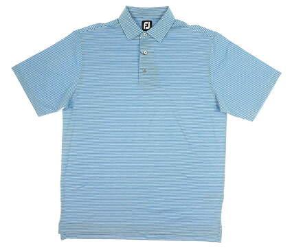 New Mens Footjoy Pin Stripe Golf Polo Large L Sky Blue MSRP $76 27422