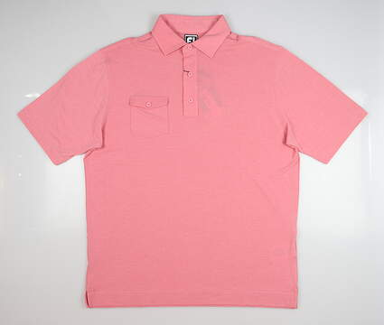 New Mens Footjoy Spun Poly Golf Polo Large L Pink MSRP $76 22845