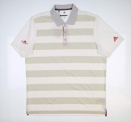 New W/ Logo Mens Adidas Rugby Stripe Polo Large L White MSRP $75 CD3360