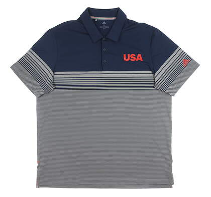 New Mens Adidas USA Ultimate Golf Polo X-Large XL Multi MSRP $80 EC5966