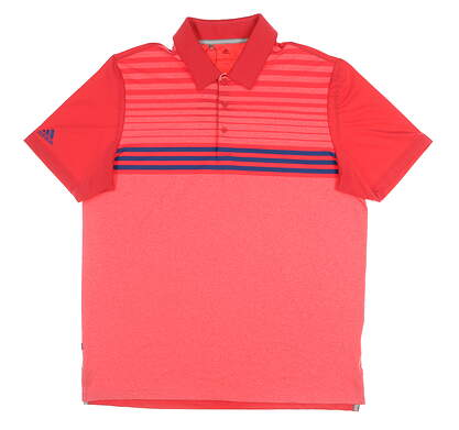 New Mens Adidas Ultimate 3 Star Golf Polo Large L Multi MSRP $65 DW9179