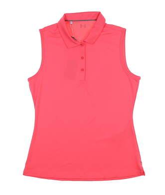 New Womens Under Armour Sleeveless Golf Polo Medium M Pink MSRP $65