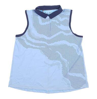 New Womens Under Armour Sleeveless Golf Polo Medium M Blue MSRP $65